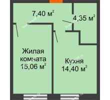 1 комнатная квартира 41,21 м², ЖК Две реки - планировка