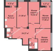 4 комнатная квартира 139,6 м², ЖК Бристоль - планировка