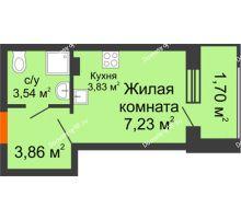 Студия 20,16 м² в ЖК Суворов-Сити, дом 1 очередь секция 6-13 - планировка