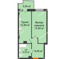 1 комнатная квартира 39,06 м² в ЖК Сердце Ростова 2, дом Литер 6 - планировка