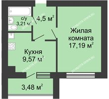 1 комнатная квартира 36,21 м² в ЖК Парк Горького, дом 62/2, №4
