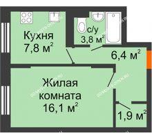 1 комнатная квартира 36 м² в ЖК Жюль Верн, дом № 1 корпус 2