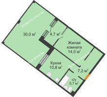 1 комнатная квартира 51,4 м² - ЖК Симфония Нижнего