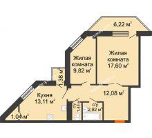 2 комнатная квартира 60,56 м² в ЖК Чернавский, дом 2 этап