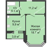 1 комнатная квартира 47,5 м² в ЖК Цветы, дом № 27 - планировка