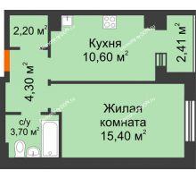 1 комнатная квартира 37,4 м² в Микрорайон Прибрежный, дом № 8 - планировка