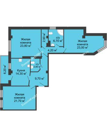 3 комнатная квартира 112,3 м² - ЖК Дом на Береговой