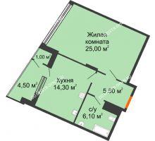 1 комнатная квартира 56,5 м² в ЖК Маршал Град, дом № 3 - планировка