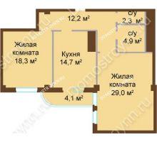 2 комнатная квартира 85,5 м², ЖК Бояр Палас - планировка